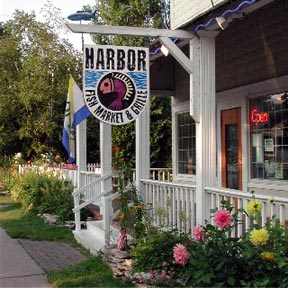 Waterfront Dining in the Heart of Door County Open 7 days a week for breakfast, lunch and dinner.  Outside dining in season. 8080 Hwy 57 Downtown Baileys Harbor  920-839-9999 www.harborfishmarket-grille.com