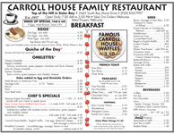 Carroll House Menu