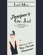 Juniper's Gin Joint Menu