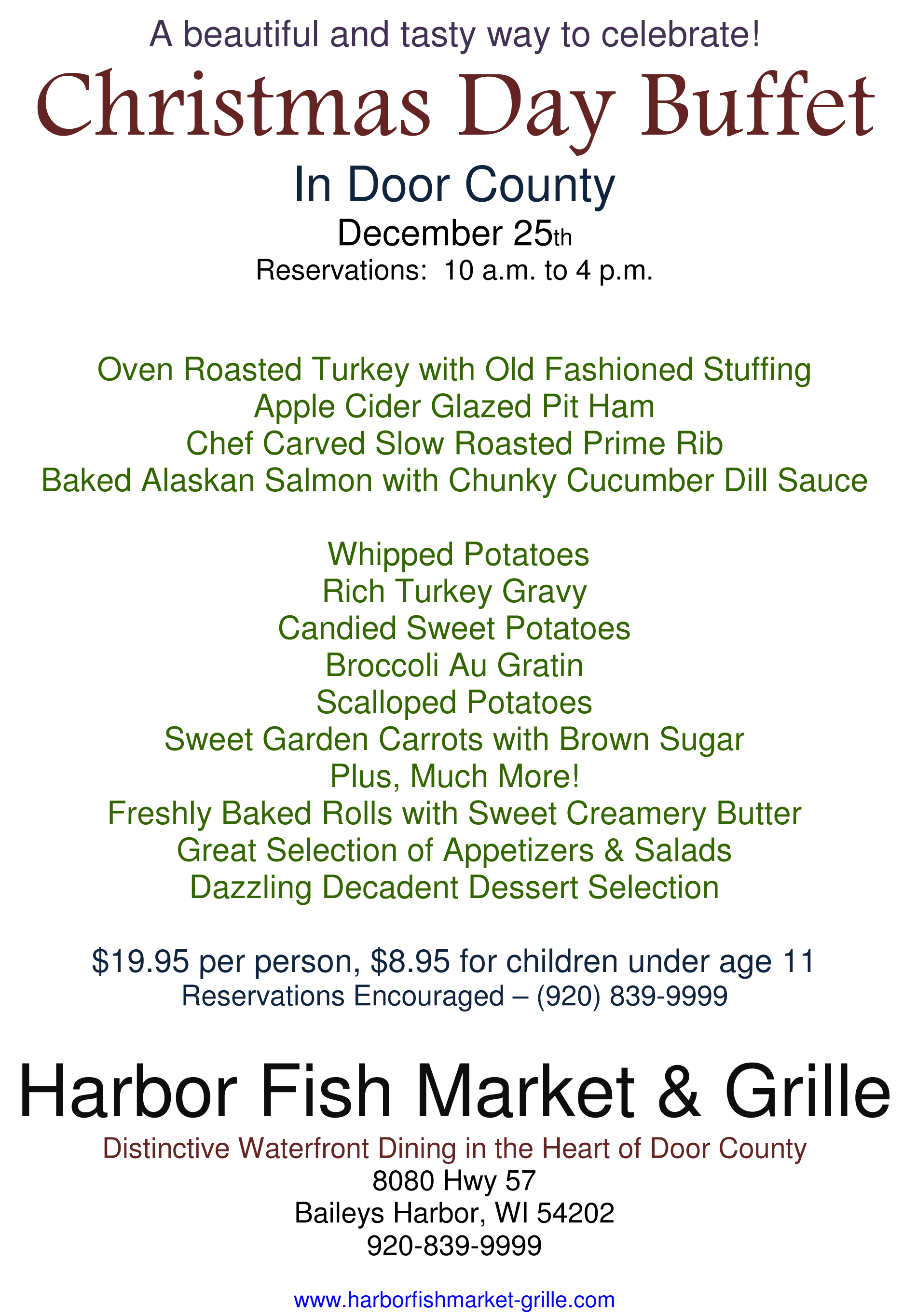 Dish Up Door County Chefs Holiday Hours & ferings 2013